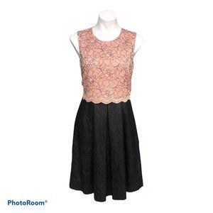 Calvin Klein Peach Lace Black Faux Leather Dress